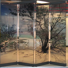 sliding room divider in decorated glass